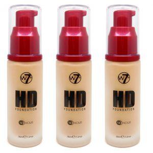 W7 HD foundation sand beige 3 stuks per display