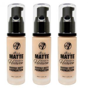 W7 Matte made heaven foundation natural beige (3 stuks)