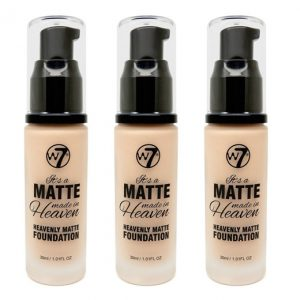 W7 Matte made heaven foundation sand beige (3 stuks)